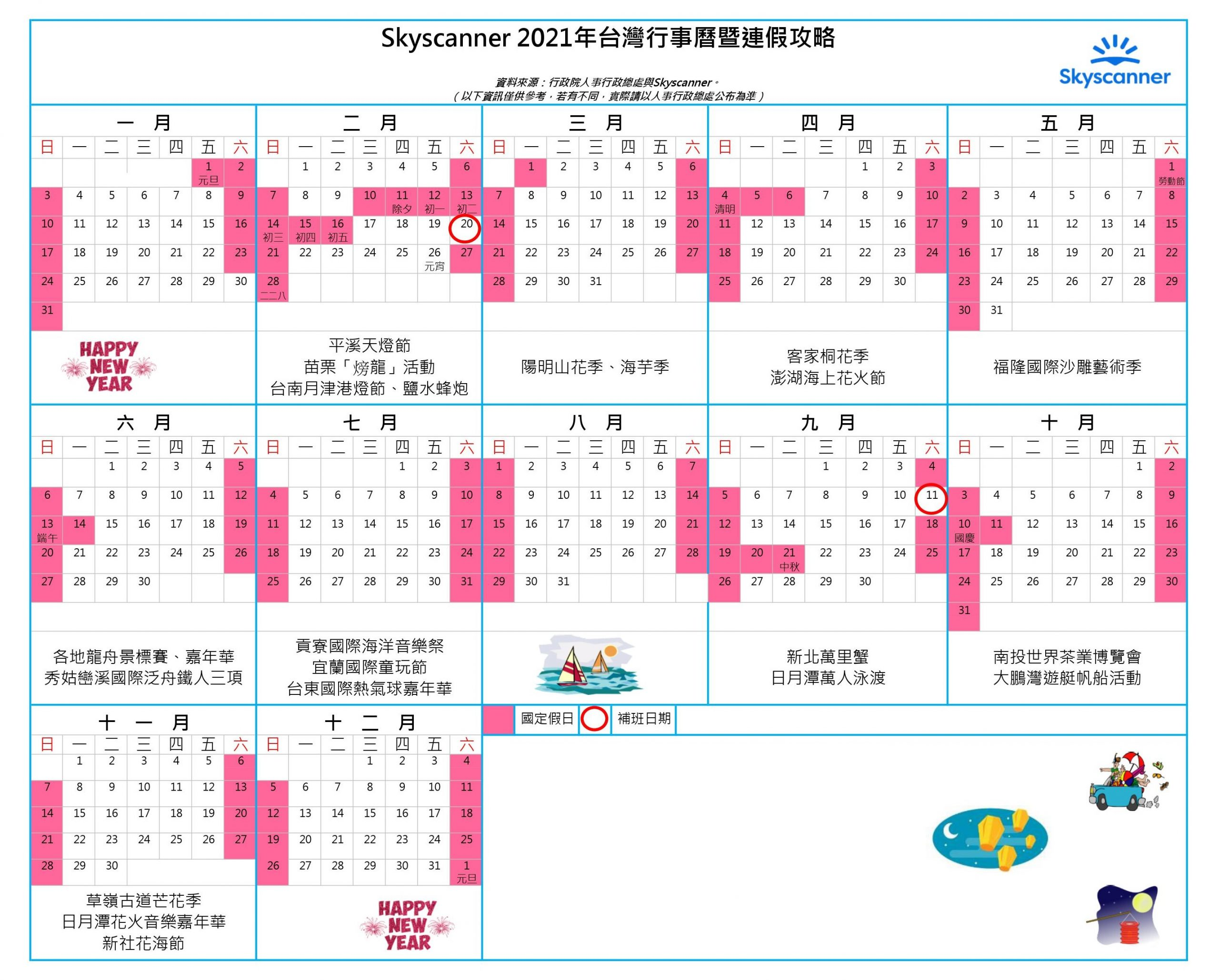 2021台灣假期行事曆8大連假出遊攻略